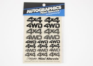 10211 Black 4WD 4x4 Sticker Sheet